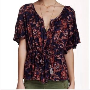 Free people Riverbend Ruffle Sleeve Blouse size S